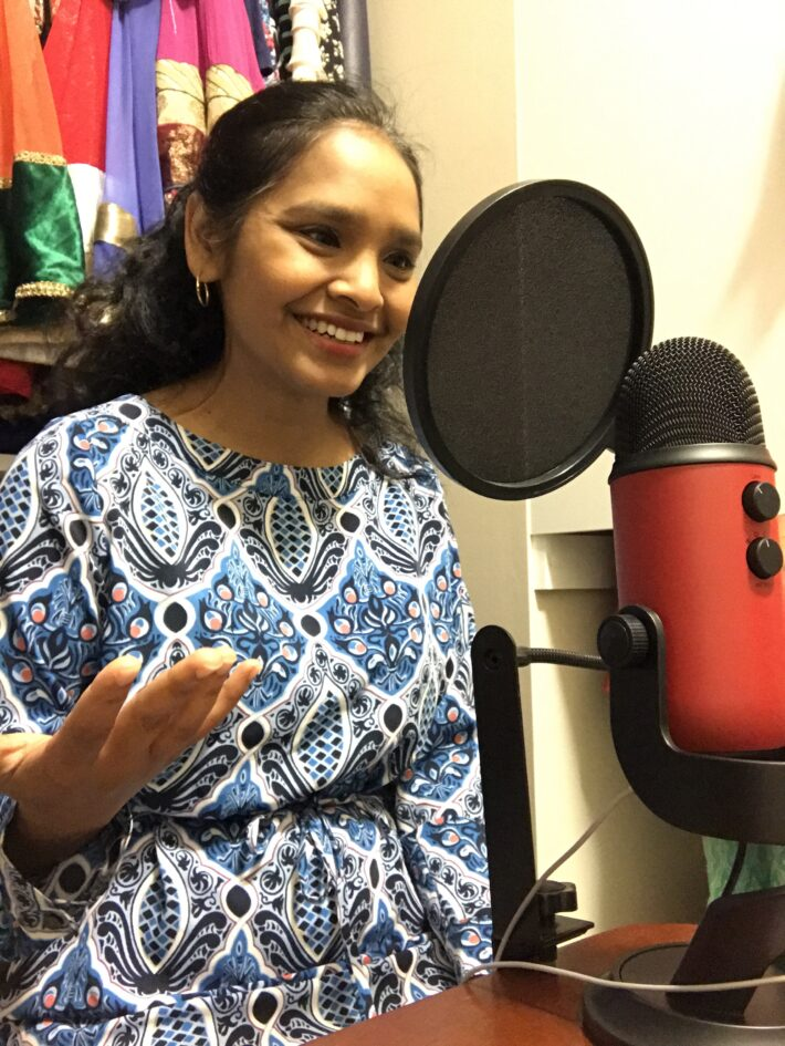 Shahnaz Ahmed podcasting